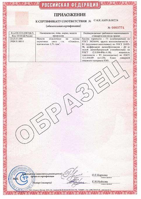Сертификат соответствия пожарной безопасности акрилового камня Grandex -2